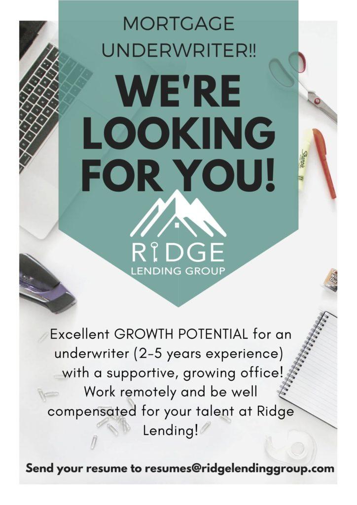 Mortgage Underwriter Hiring Poster
