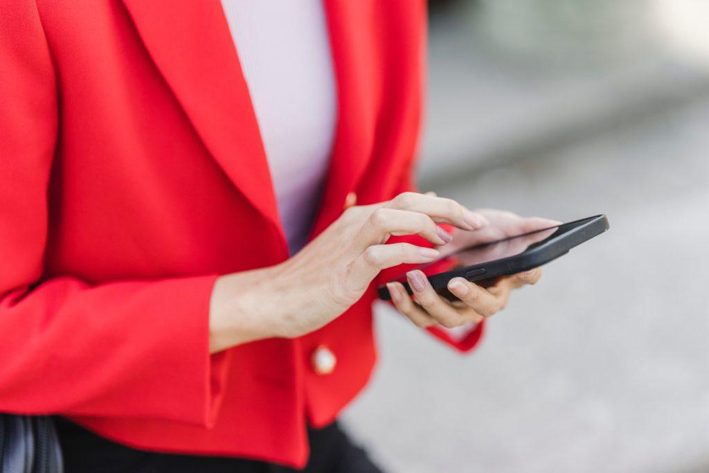 Real estate investor on smartphone using real esate app